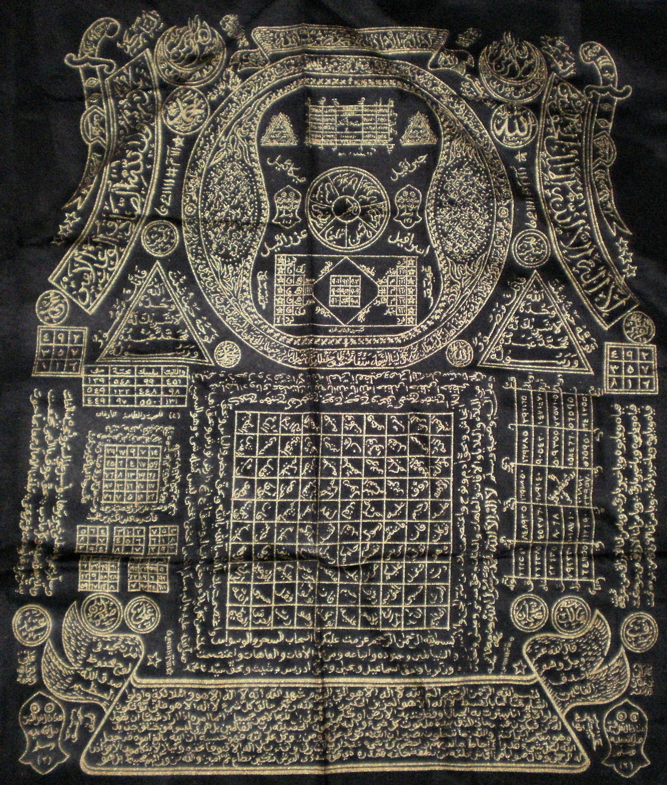 Islamic shawl with magic spells for protection the black cloth features various gold colored patterns and symbols however when we examine the deeper meaning behind the mysterious islamic geometric buycottarizona