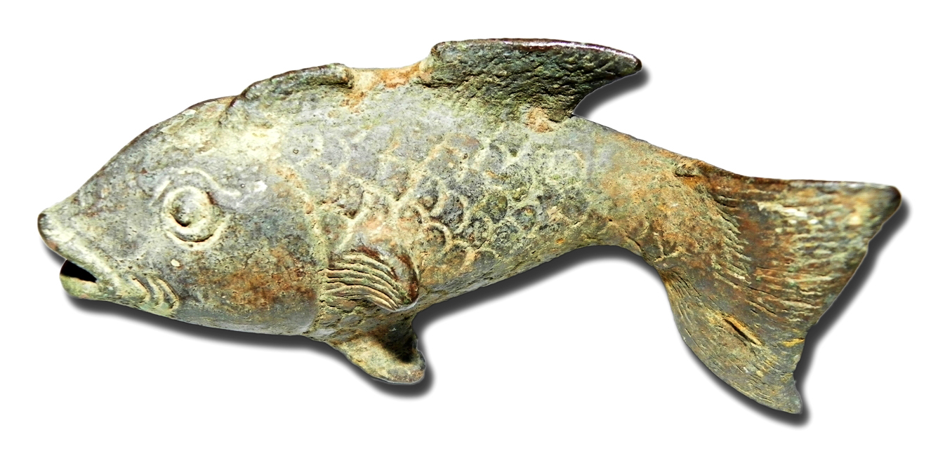 Ancient Singosari Goldfish Statue From The Thirteenth Century