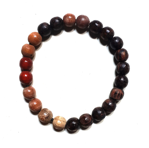 Magic Prayer Beads Bracelet made from Various Types of Natural Holy Wood endowed with Mystical Blessings by Mbah Wiryo Rejo