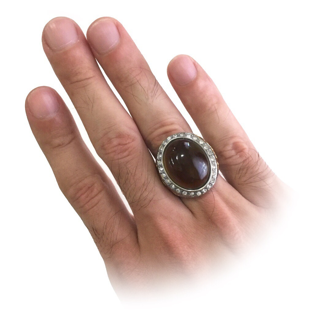 Talismanic Ring with Smoky Quartz Crystal and Zirconia Stones