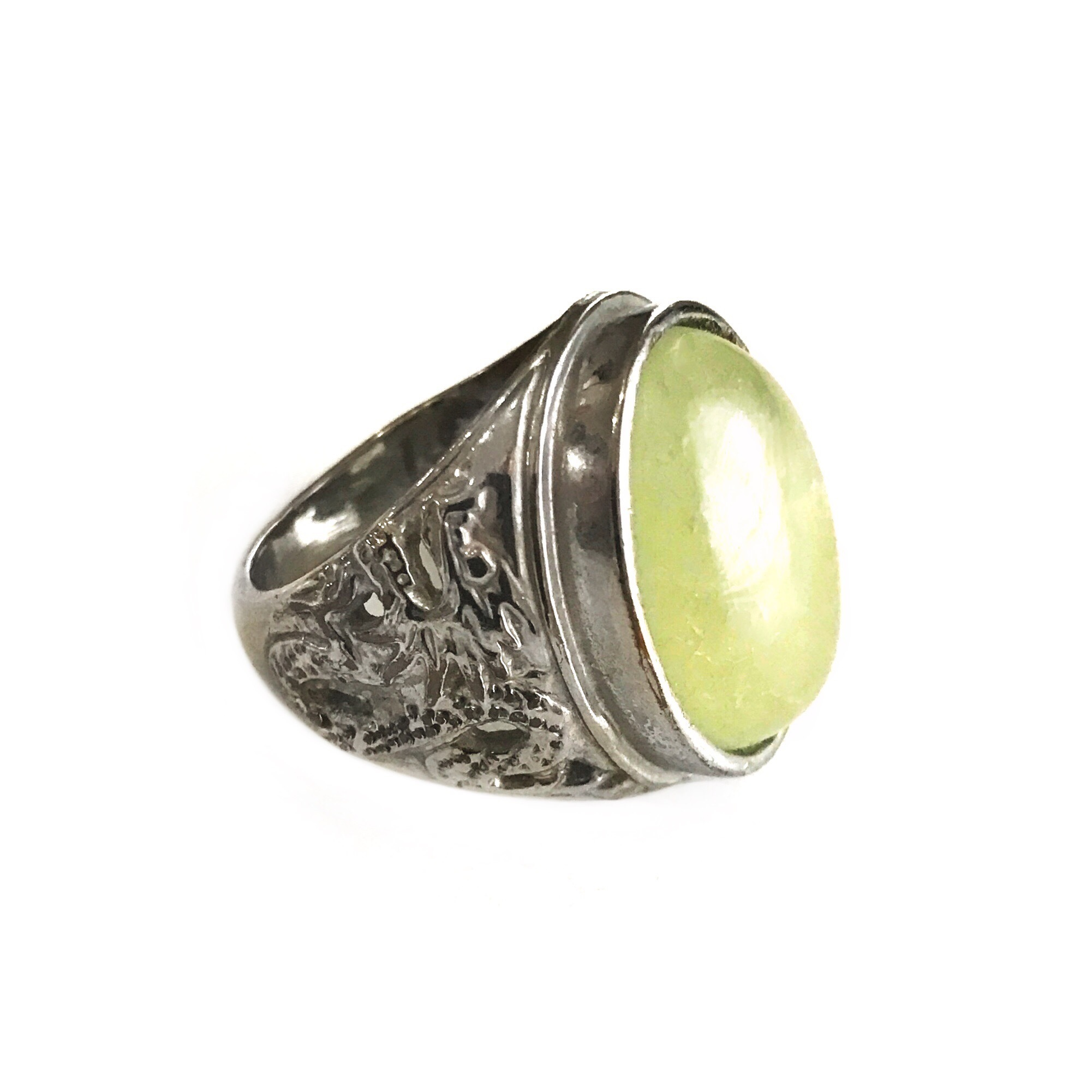rings and liu dawn fei black zirconia oval with cubic rhodium textured fluorite finish ring green white pin