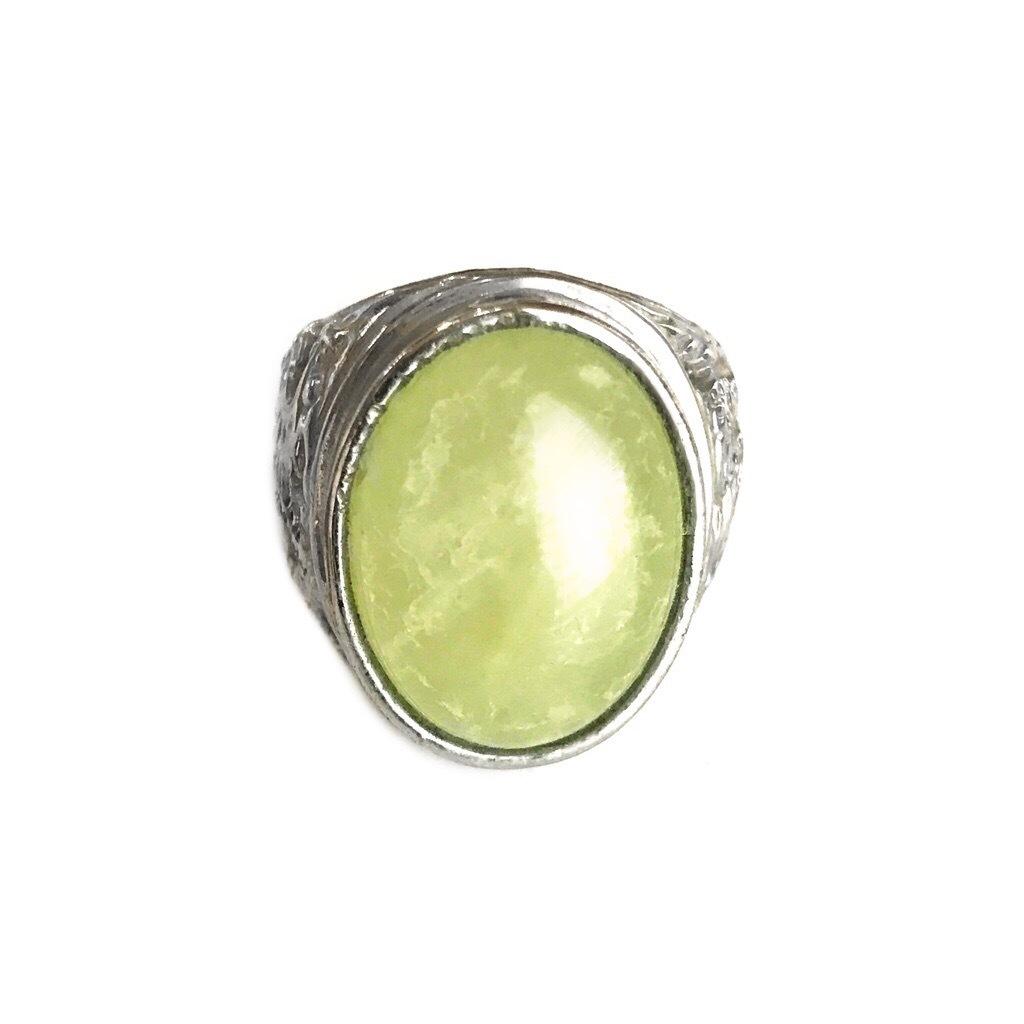 Fluorite Gemstone Ring for Prosperity and Energy