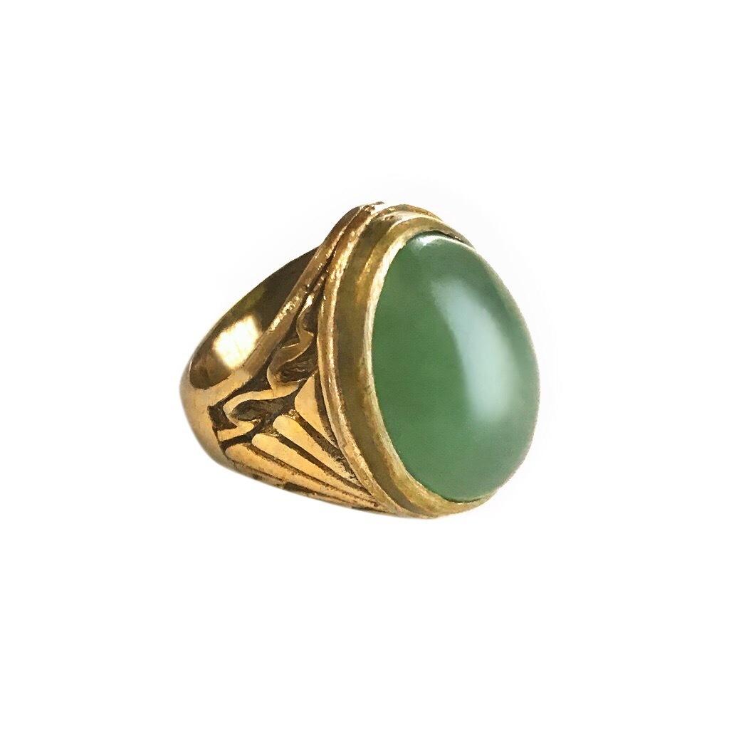 Aventurine Stone in Brass Ring