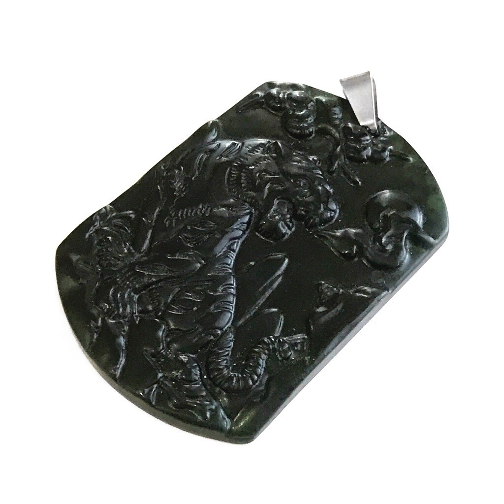 Natural Black Jadeite Tiger Pendant