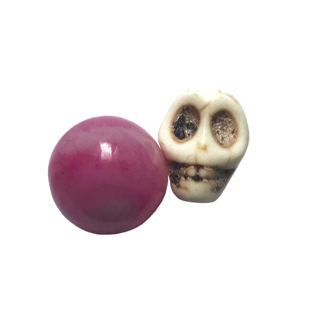 Precious Pink Ruby Gemstone with Khodamic Spirit Skull Amulet