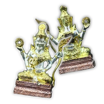 Four-Armed Rêsi Wisnu Image made from Sacred Brass with Three Colored Metal Finish