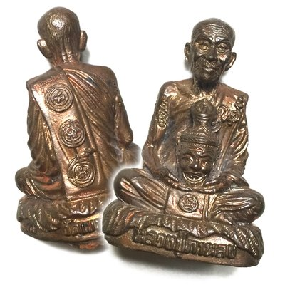 Nawa Loha Metal Miniature Monk Statue of Luang Por Kalong holding a Ruesi Mask for Ritual Empowerment