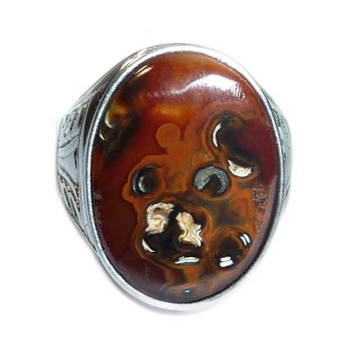Exclusive Agate Mustika Gemstone Ring featuring Natural Image of a Kalimantan Honey Bear