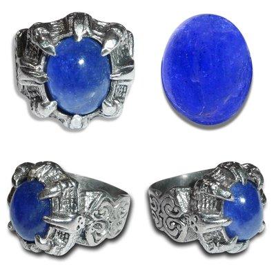 Blue Purplish Tanzanite Gemstone (AAA Quality) mounted on an Antique Germanium Ring