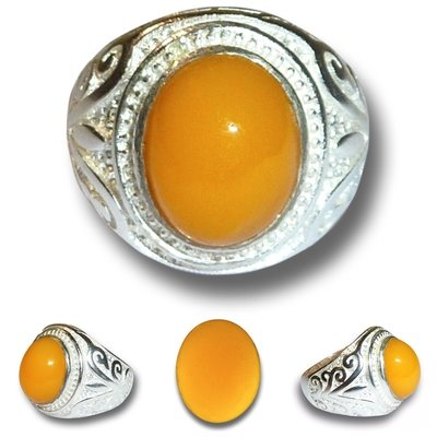 Peruvian Precious Fire Opal Gemstone in Silver Ring