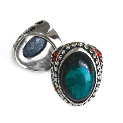 Real Moluccan Chrysocolla Chalcedony Talisman Ring adorned with 18 Red Garnets to help One become More Astute