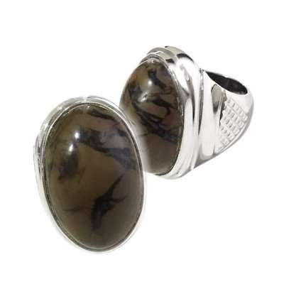 Sundanese Talismanic Ring with Brown Brecciated Jasper Stone to divert Potential Dangers