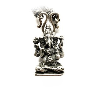 Balinese Gaṇeśa Elephant Head God Pendant including Solid Silver Necklace