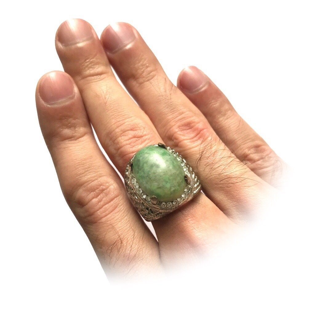 Amulet Ring embedded with Zircons and Nephrite Stone