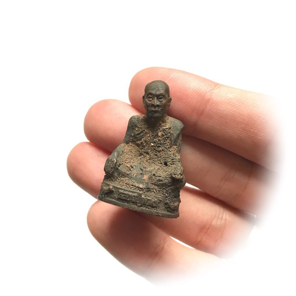 Sacred Metal Monk Figurine from Thailand