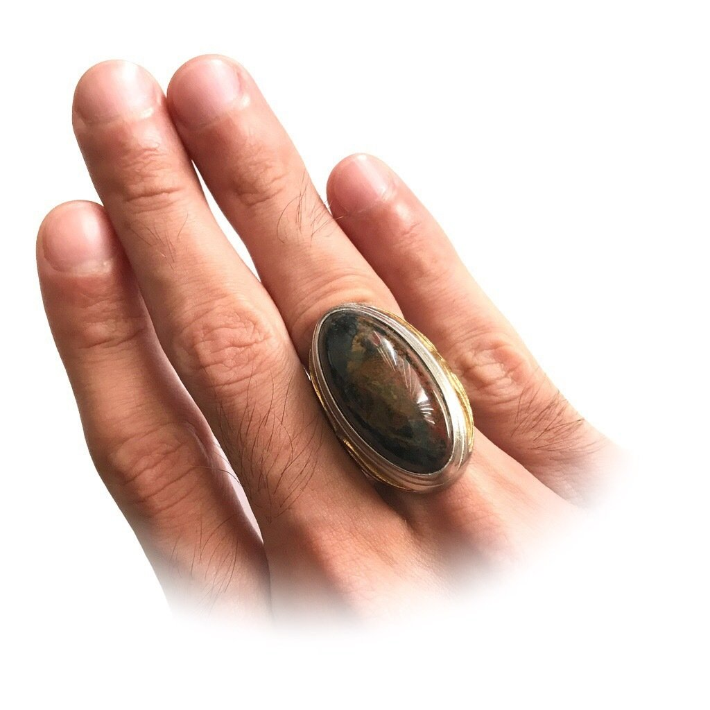 Real Jasper Amulet set in a Powerful Mystical Ring