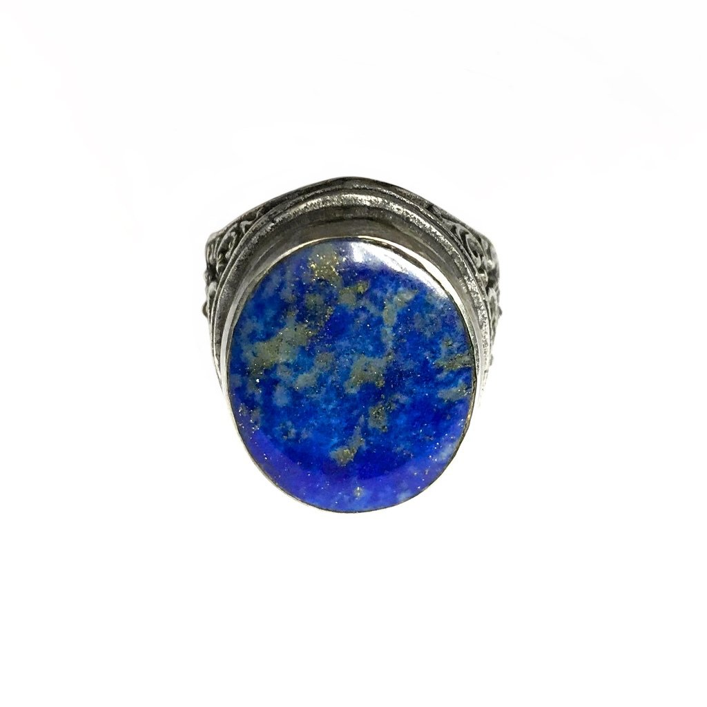 Balinese Silver Ring inlaid with Antique Lapis Lazuli Stone