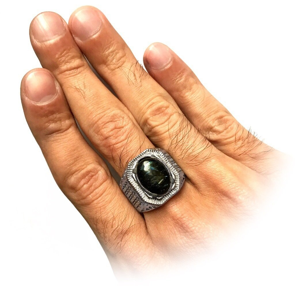 Black Basalt Crystal Ring