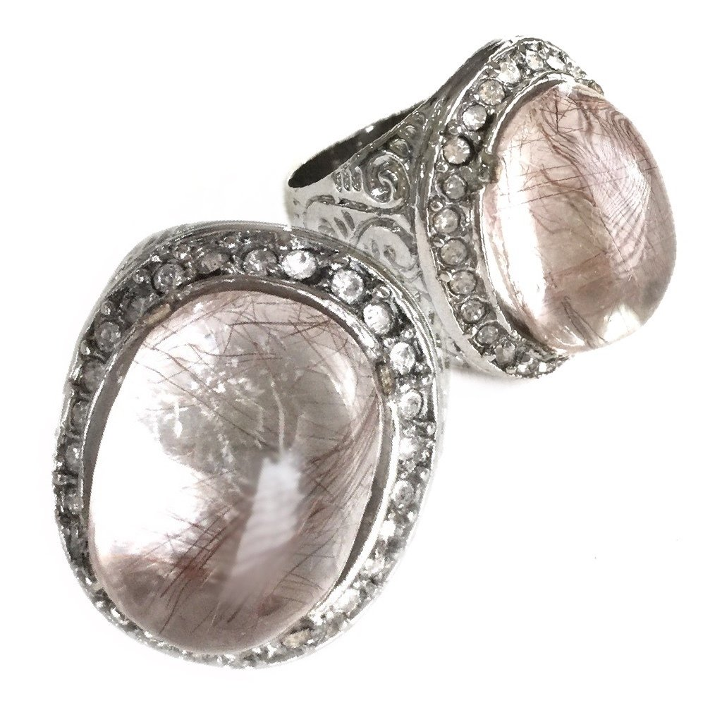 Magical Ring with Rare Rutilated Quartz and Zirconia for cultivating Insight and Intuition