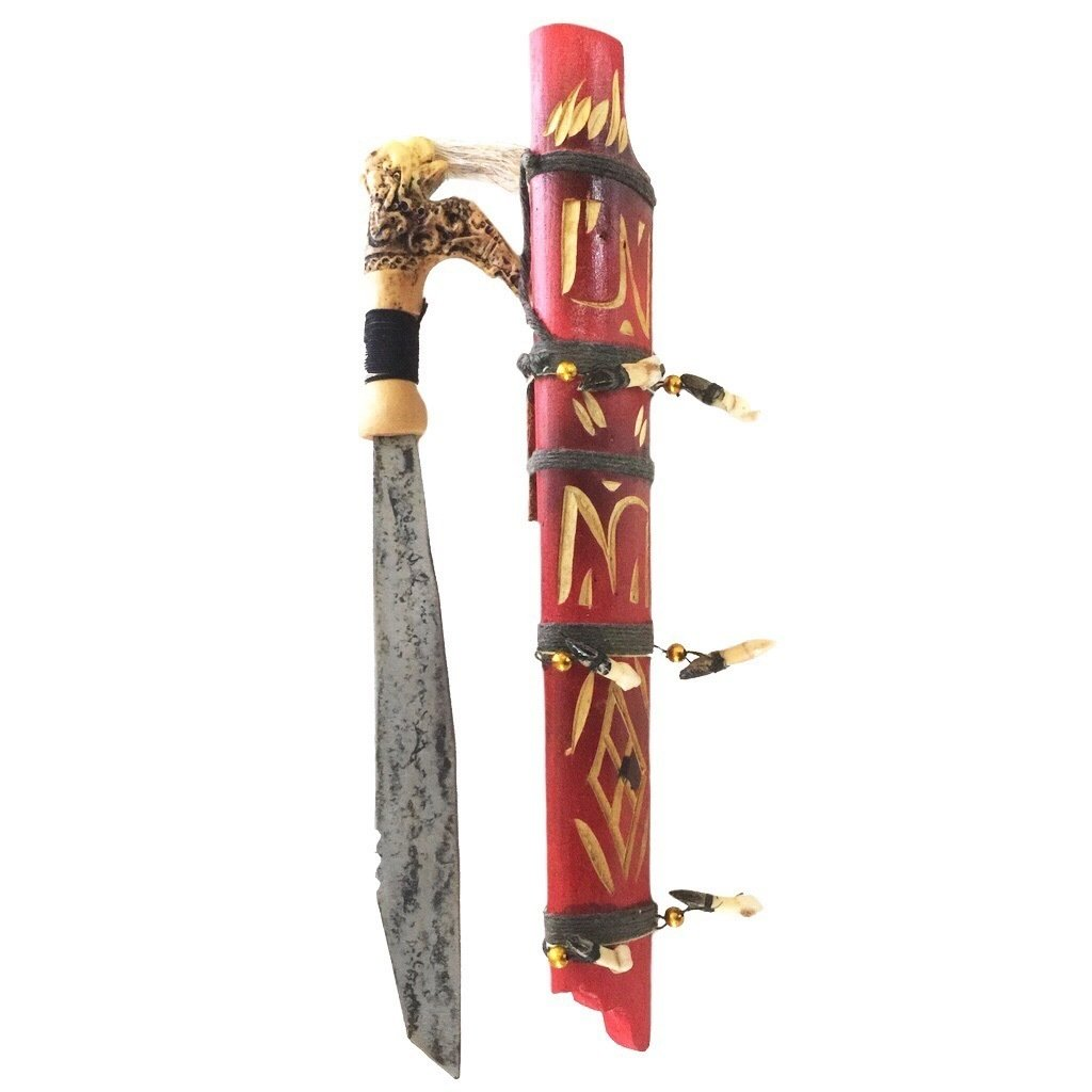 Sorcerous Headhunting Mandau Dagger with Wild Pig's Teeth, Hair, and Bone Ornaments