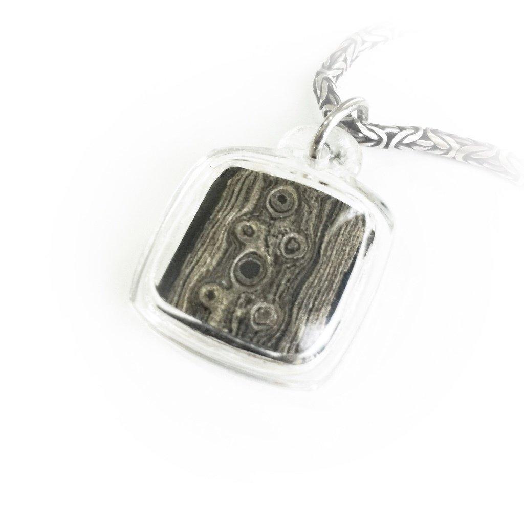 Sacred Iron Keris Blade Pendant featuring Meteorite Pamor Udan Mas Pattern of Prosperity