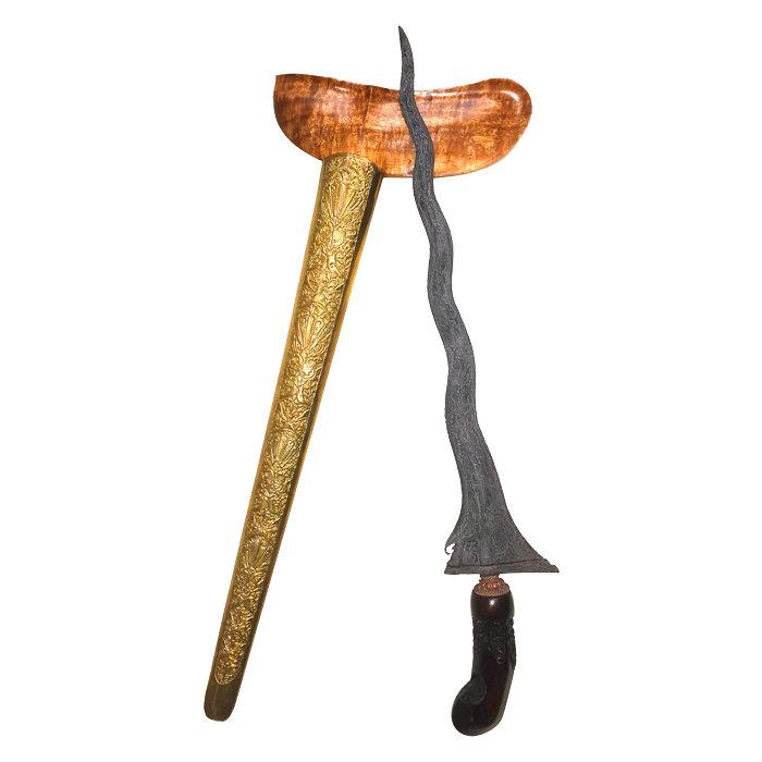 Keris Panimbal Luk 9 with Pamor Pedaringan Kebak – Tangguh Tuban Era (13th–15th Century CE)