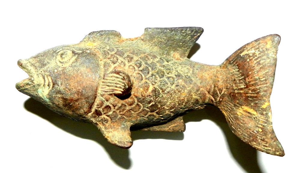 Ancient Singosari Goldfish Statue from the Thirteenth Century