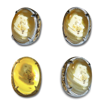 Indonesian Mustika Ring with Mysterious Pangeran Image Manifested in Agate Gem