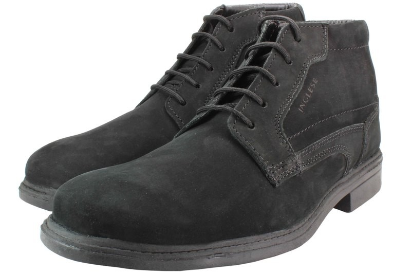 Mens Boots Genuine Nubuck Leather Black - SUGGESTED RETAIL PRICE $45.00 - WHOLESALE PRICE $9.25 - Minimum purchase 12 pairs