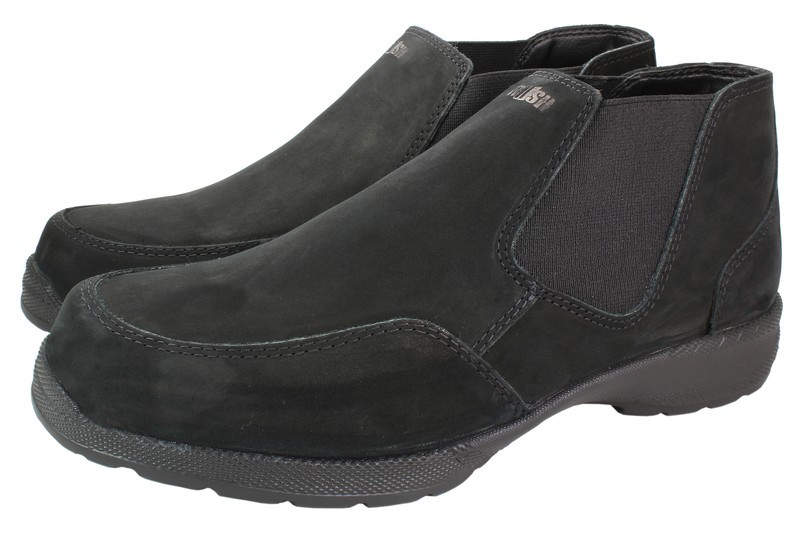 Mens Boots Genuine Nubuck Leather Black - SUGGESTED RETAIL PRICE $45.00 - WHOLESALE PRICE $9.75- Minimum purchase 12 pairs