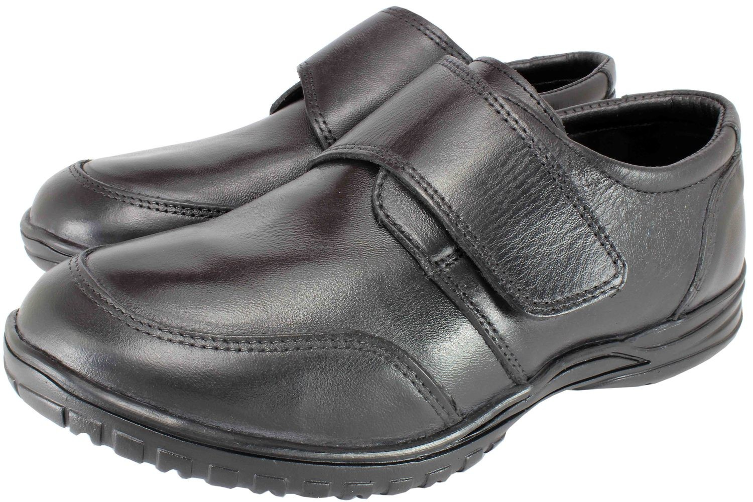 Bulk Black Shoes For Boys, Napa Soft Leather, Soft Insole, Velcro ,Rubber Sole