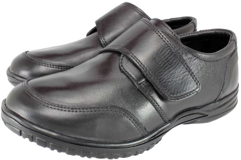 Bulk Black Shoes For Boys, Napa Soft Leather, Soft Insole, Velcro ,Rubber Sole