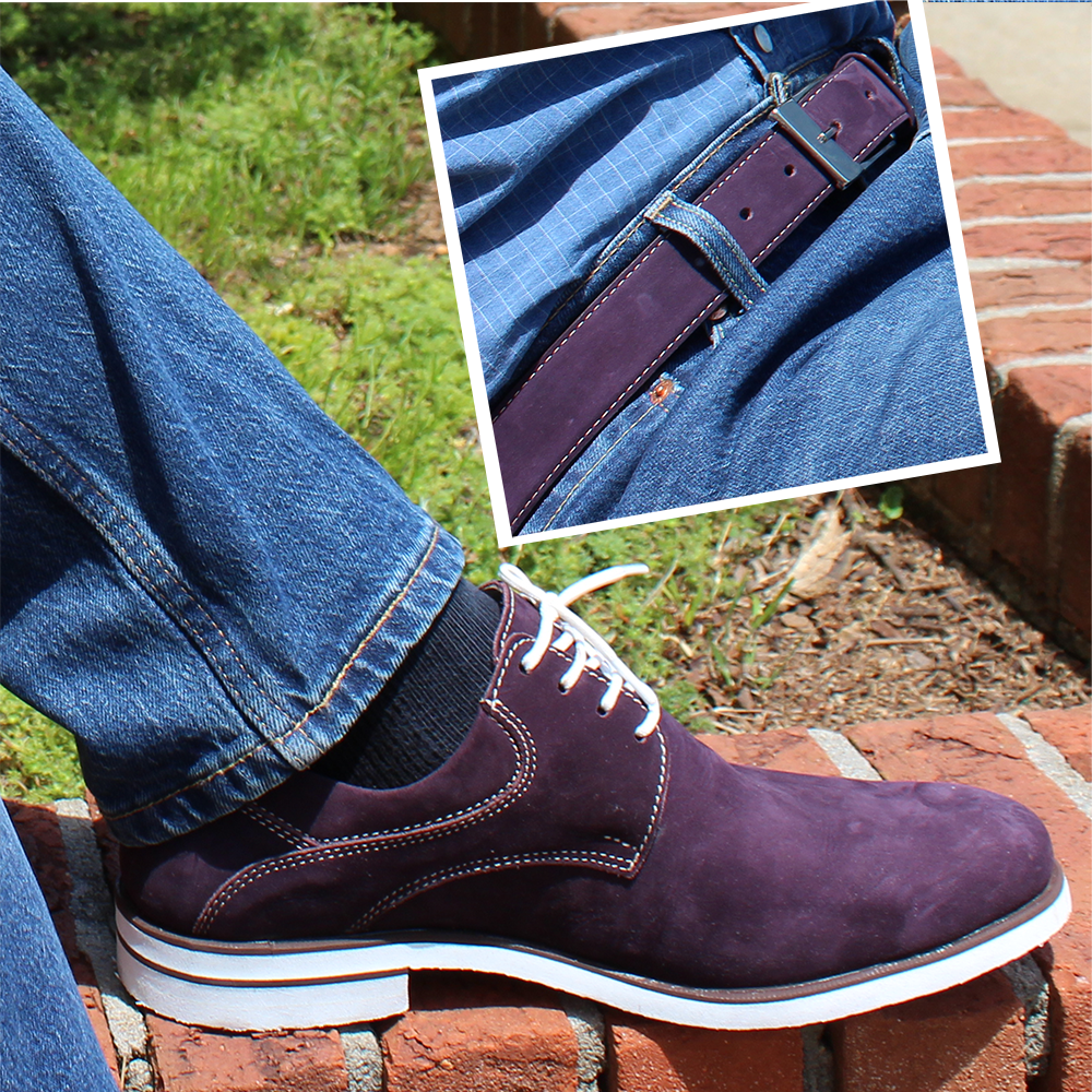 Mens Belt & Shoes Genuine Leather Purple - SUGGESTED RETAIL PRICE $75/sets - WHOLESALE PRICE $13.75/sets - Min purchase 20 sets