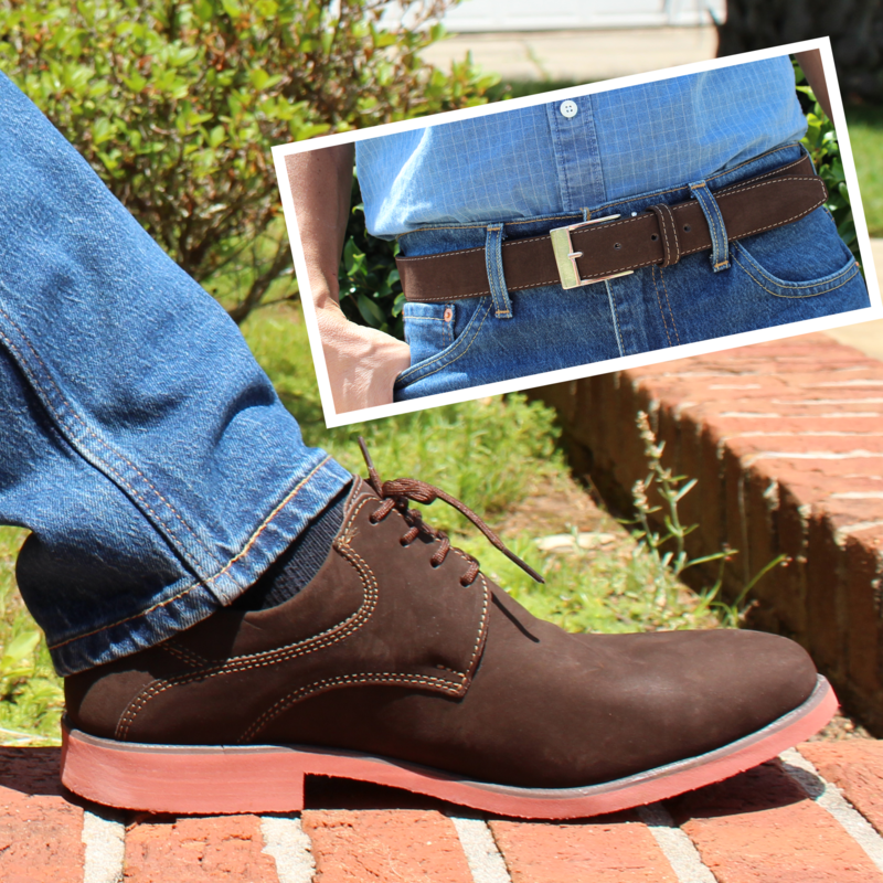 Mens Belt & Shoes Genuine Leather Brown - SUGGESTED RETAIL PRICE $75/sets - WHOLESALE PRICE $13.75/sets - Min purchase 16 sets