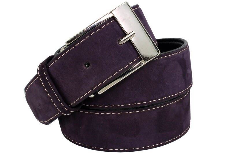 Mens Belts Genuine Leather Purple 1 1/4 Wide - SUGGESTED RETAIL PRICE $30 - WHOLESALE PRICE $16. Minimum purchase 6 units