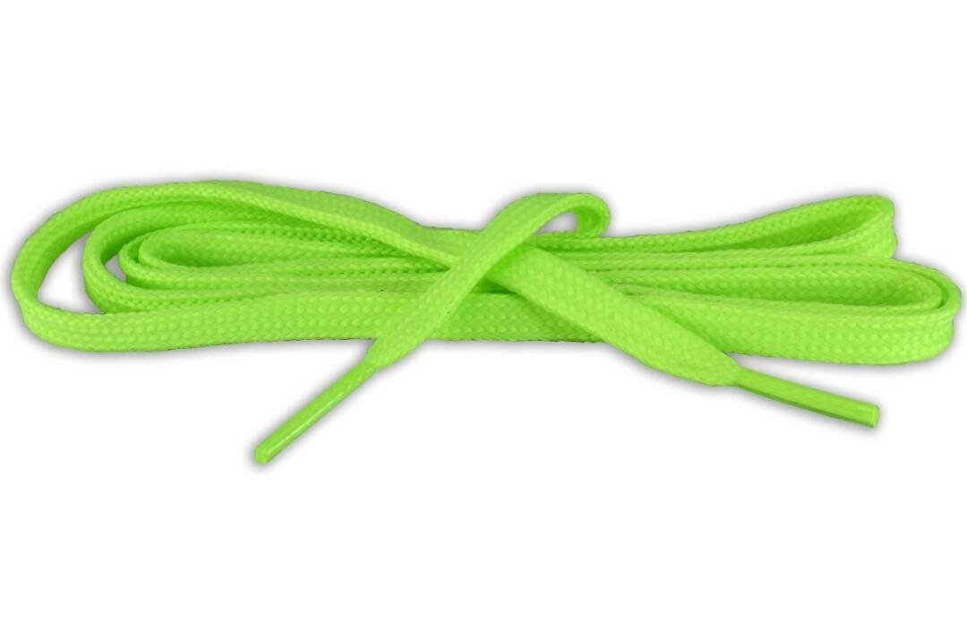 Bulk Flat Shoe Laces for sneakers color apple green phosphorescent