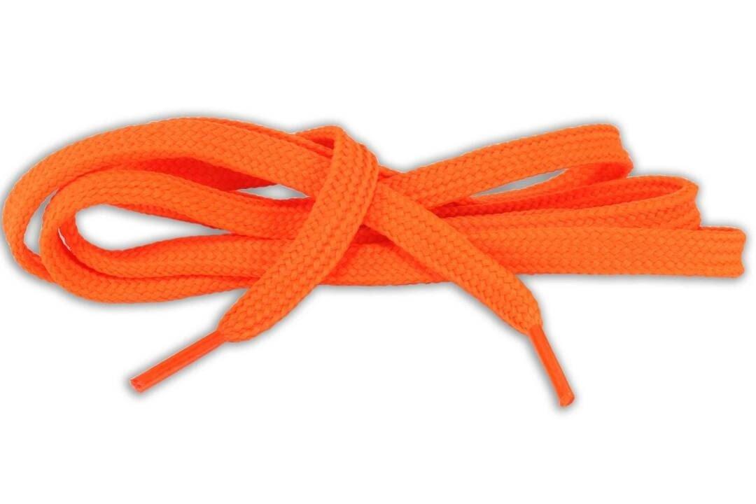 Flat Shoe Laces for SNEAKERS color orange phosphorescent
