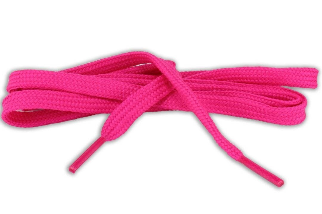 Flat Shoe Laces for sneakers color fushia phosphorescent