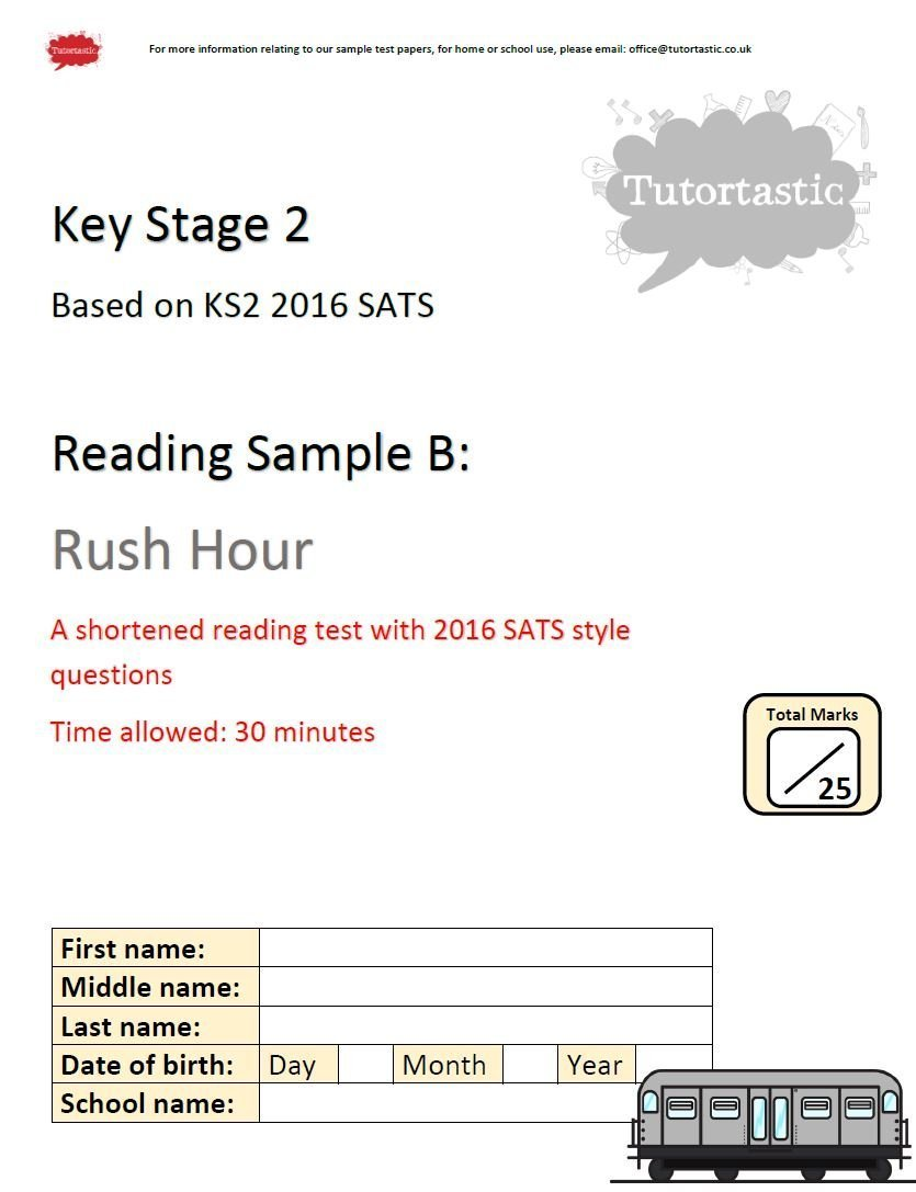 - KS2 SATS 2016 - Reading Comprehension - Rush Hour