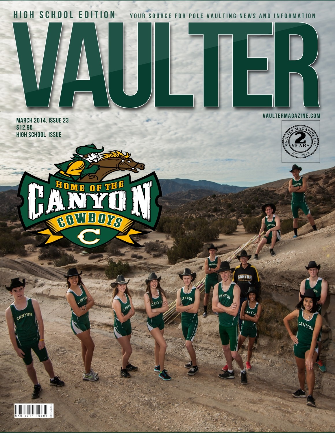 "March 2014 Canyon High School Issue of VAULTER Magazine USPS First Class ""ONLY"""