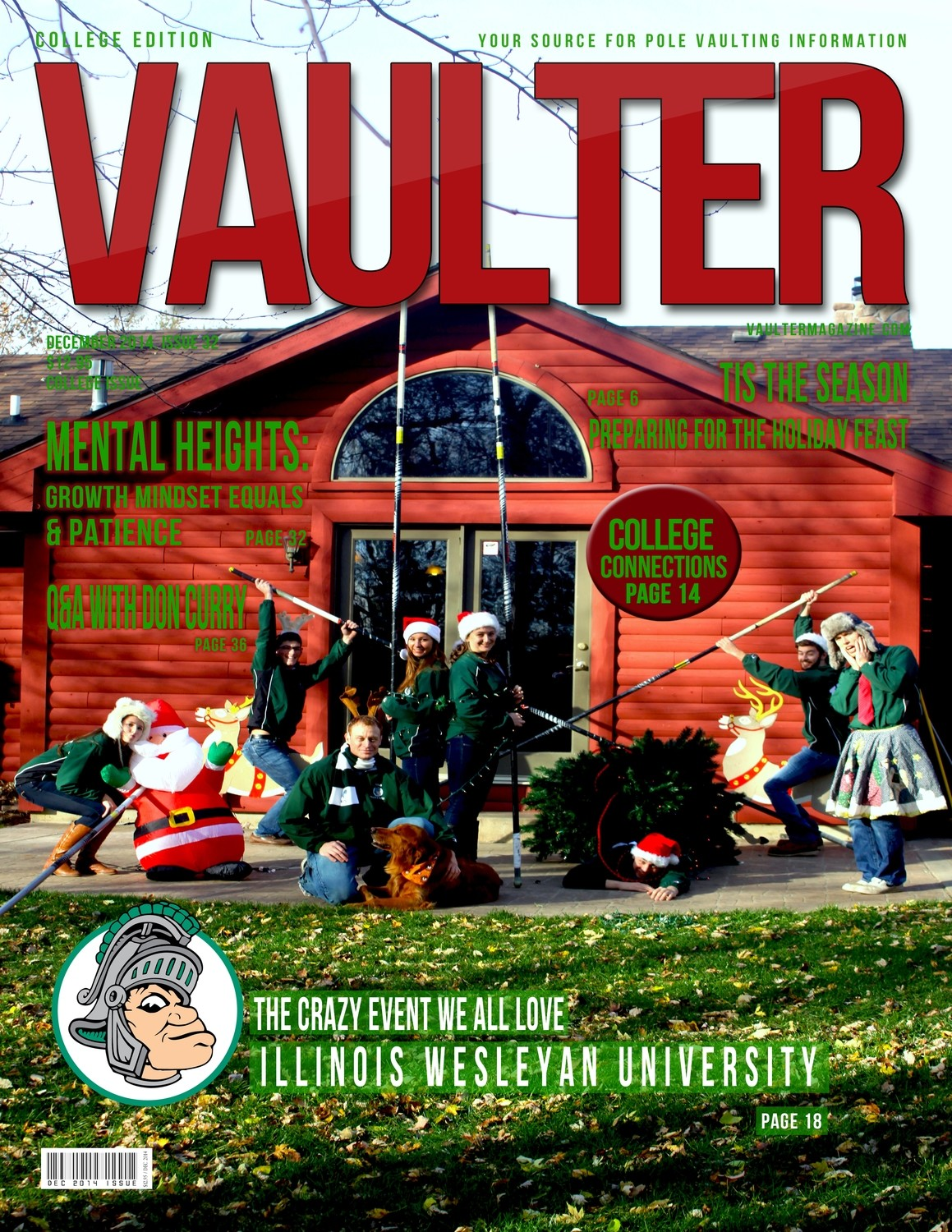 "December 2014 Illinois Wesleyan Issue of VAULTER Magazine USPS First Class ""ONLY"""