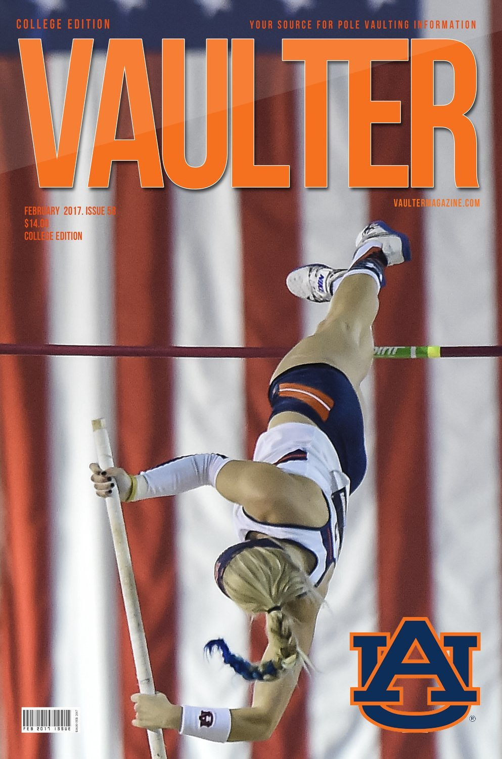 "12"" x 18"" Auburn University - Jessie Johnson Cover of Vaulter Magazine"