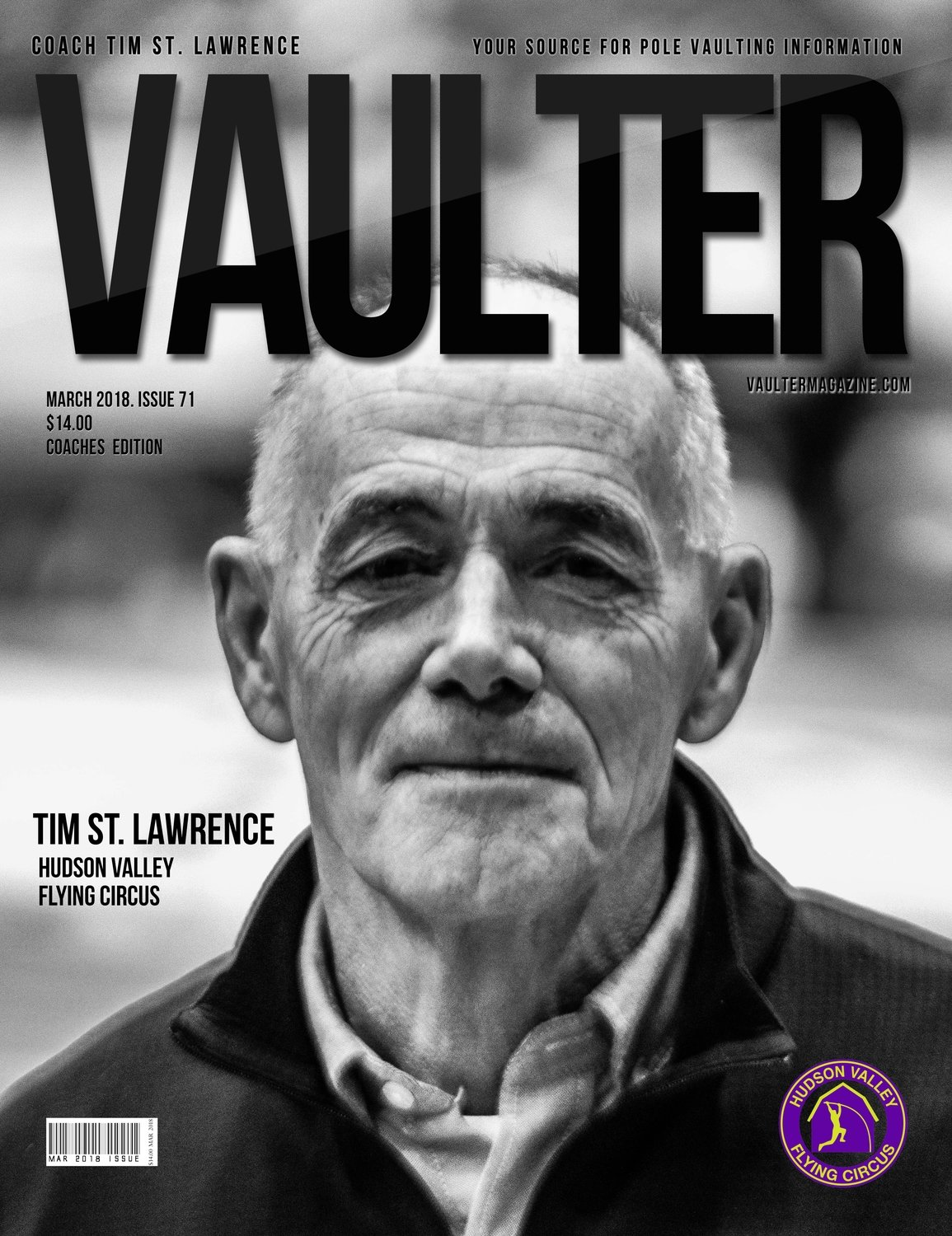 March 2018 Coach Tim St. Lawrence Issue of Vaulter Magazine Cover USPS Mail