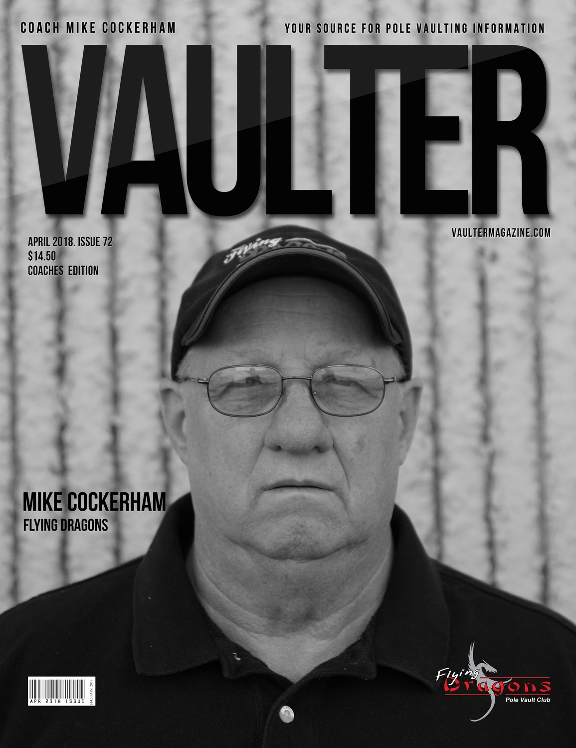April 2018 Coach Mike Cockerham Issue of Vaulter Magazine Cover Poster for Vaulter Magazine