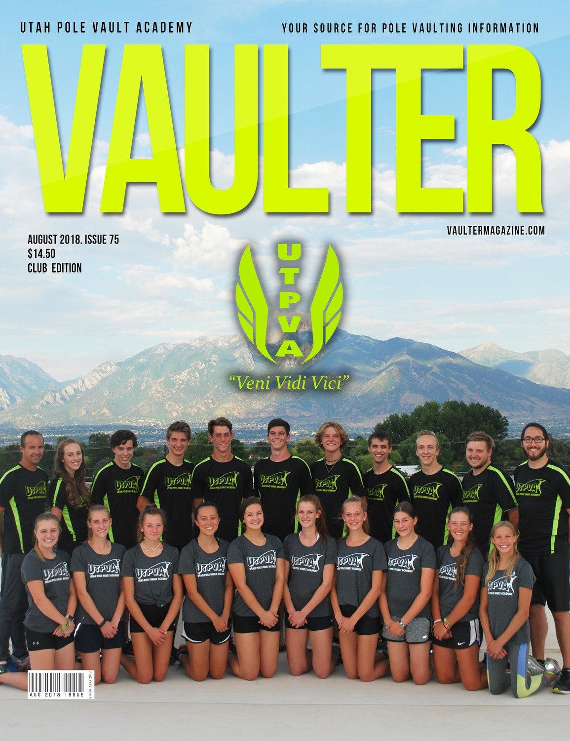 August 2018 Utah Pole Vault Academy Cover of Vaulter Magazine Issue U.S. Standard Mail