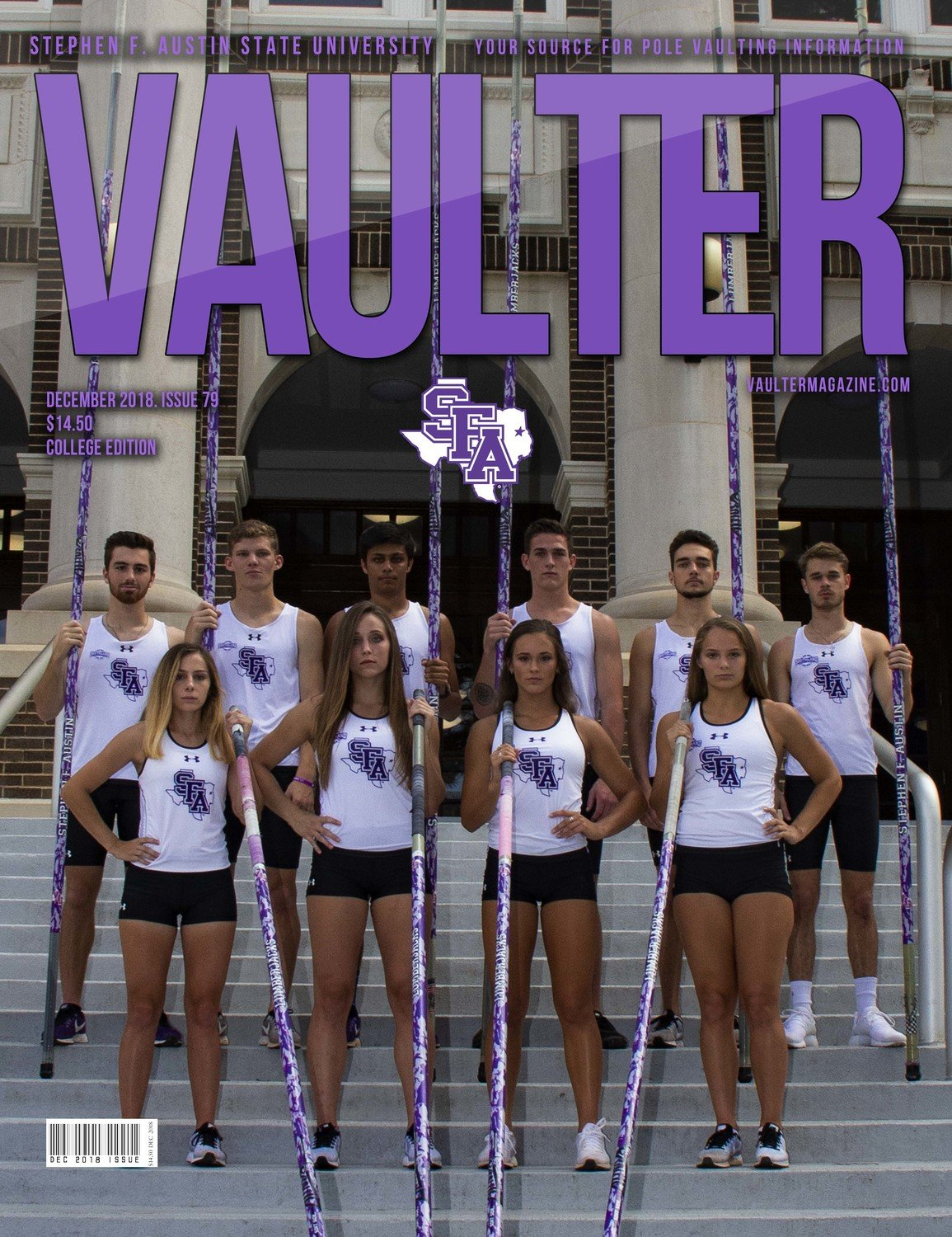 December 2018 Stephen F. Austin University Issue of Vaulter Magazine  U.S. Standard Mail