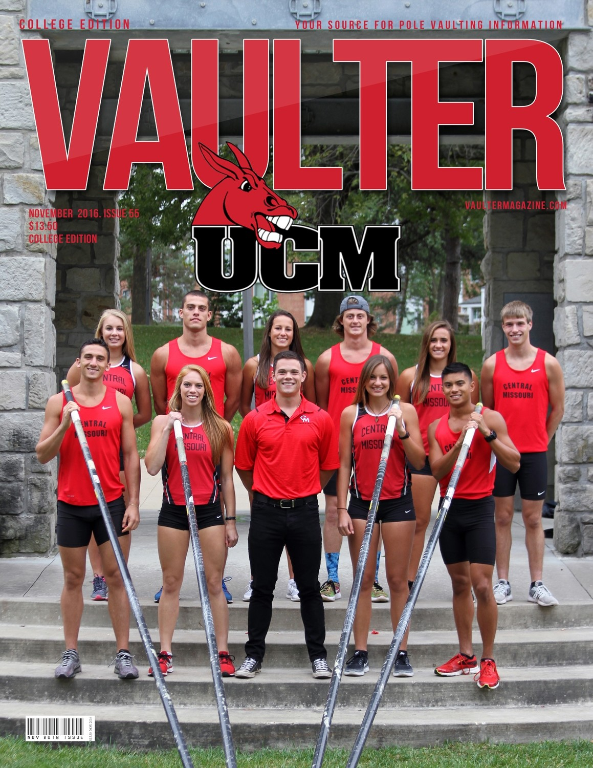 University of  Central Missouri Cover of Vaulter Magazine USPS Only