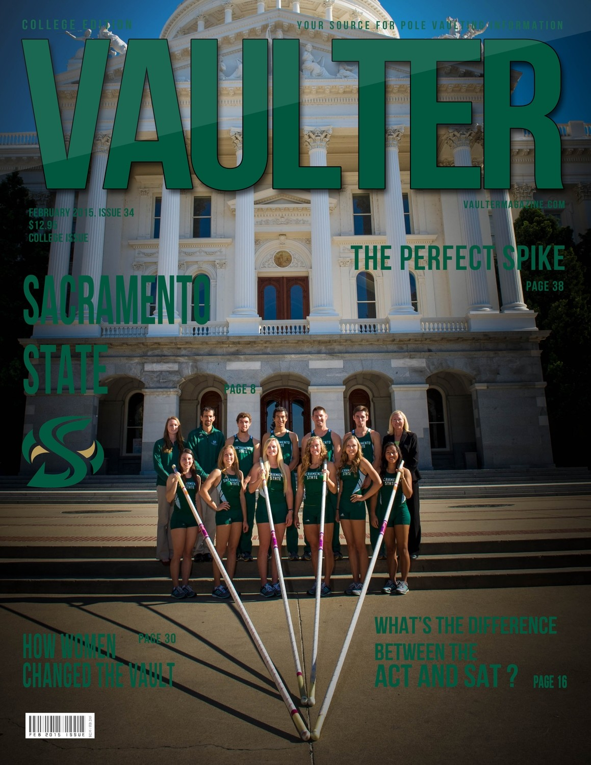 "February 2015 Sacramento State University Issue of VAULTER Magazine USPS First Class ""ONLY"""