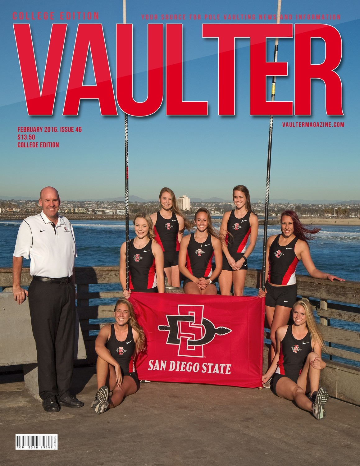 "February 2016 San Diego State University Issue of VAULTER Magazine USPS First Class ""ONLY"""