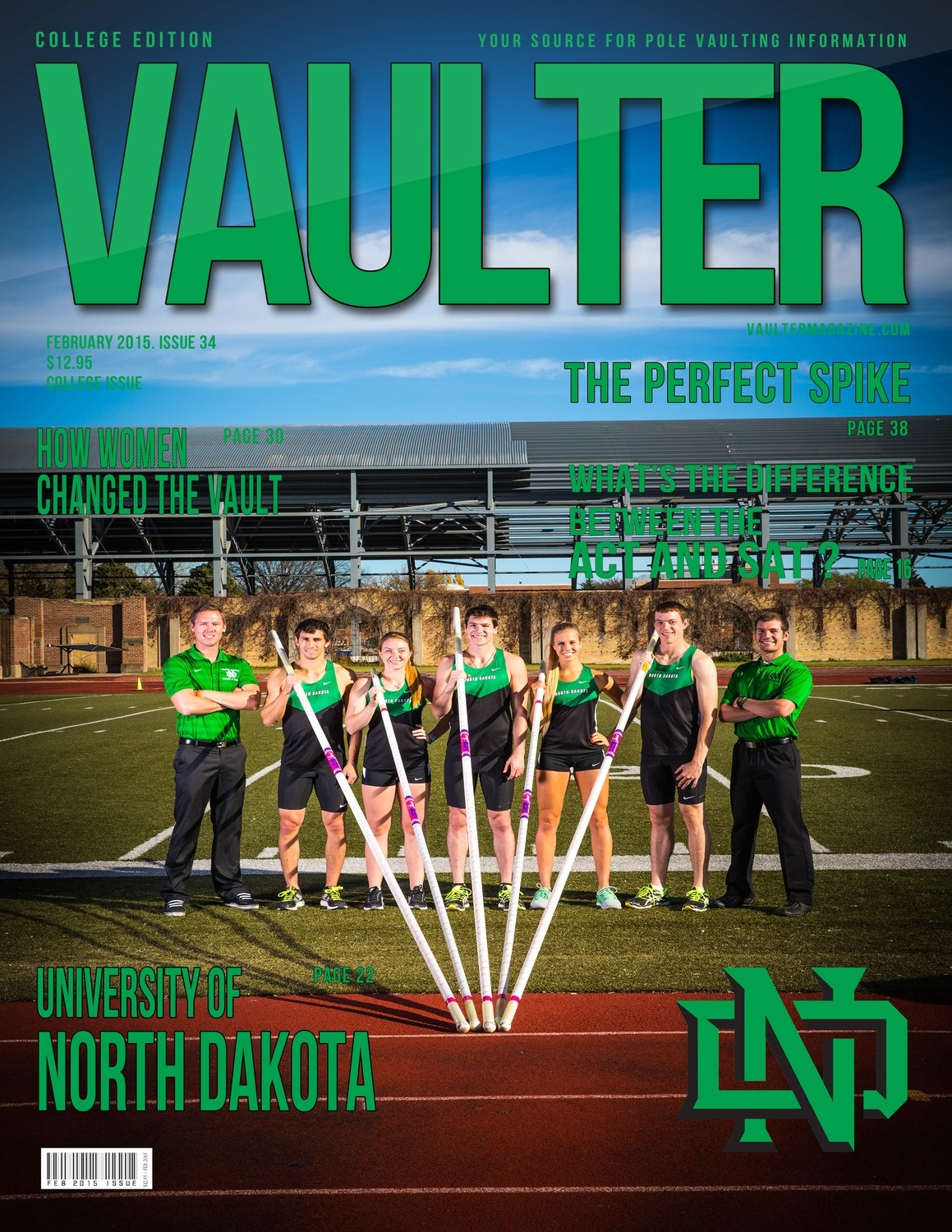 """February 2015 University of North Dakota Issue of VAULTER Magazine USPS First Class """"ONLY"""""""